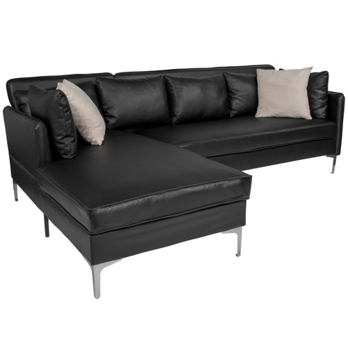 Flash Furniture | Back Bay Upholstered Accent Pillow Back Sectional with Left Side Facing Chaise in Black Leather