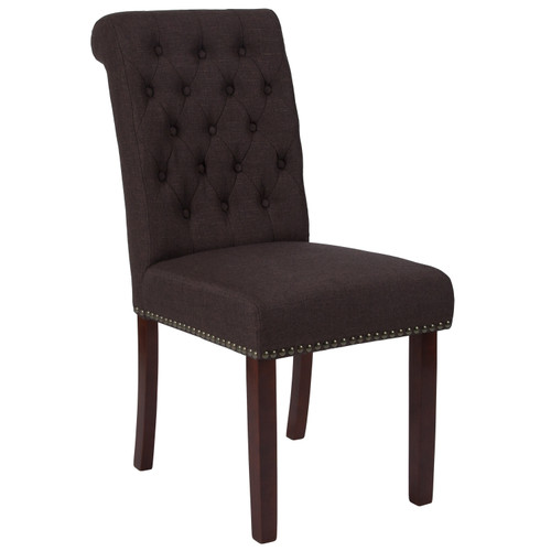 Flash Furniture   HERCULES Series Brown Fabric Parsons Chair with Rolled Back, Accent Nail Trim and Walnut Finish