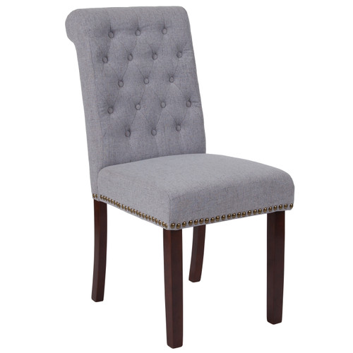 Flash Furniture   HERCULES Series Light Gray Fabric Parsons Chair with Rolled Back, Accent Nail Trim and Walnut Finish
