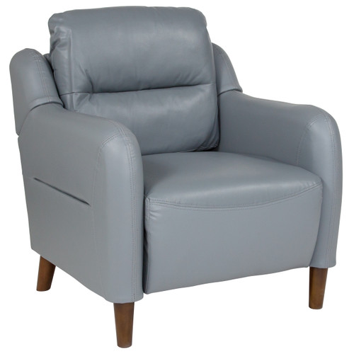 Flash Furniture | Newton Hill Upholstered Bustle Back Arm Chair in Gray Leather