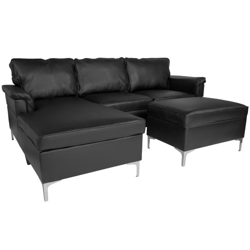 Flash Furniture | Boylston Upholstered Plush Pillow Back Sectional with Left Side Facing Chaise and Ottoman Set in Black Leather