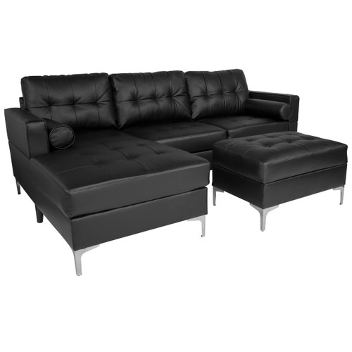 Flash Furniture | Riverside Upholstered Tufted Back Sectional with Left Side Facing Chaise, Bolster Pillows and Ottoman Set in Black Leather