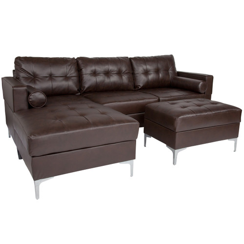 Flash Furniture | Riverside Upholstered Tufted Back Sectional with Left Side Facing Chaise, Bolster Pillows and Ottoman Set in Brown Leather