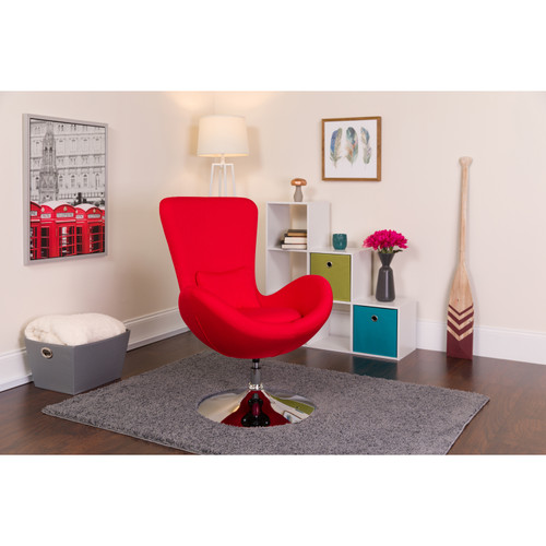 Flash Furniture | Egg Series Red Fabric Side Reception Chair