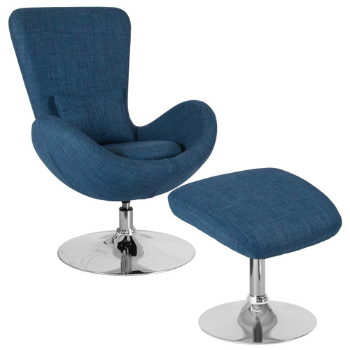 Flash Furniture | Egg Series Blue Fabric Side Reception Chair with Ottoman
