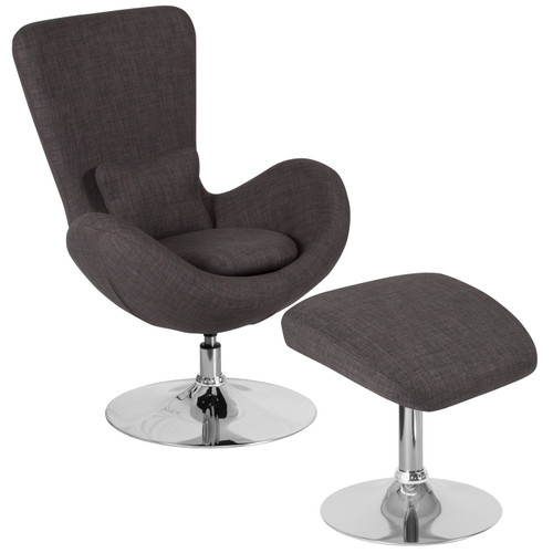 Flash Furniture | Egg Series Dark Gray Fabric Side Reception Chair with Ottoman