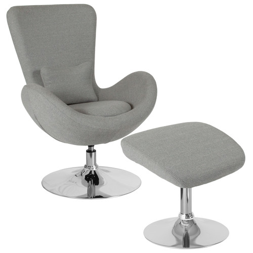 Flash Furniture | Egg Series Light Gray Fabric Side Reception Chair with Ottoman