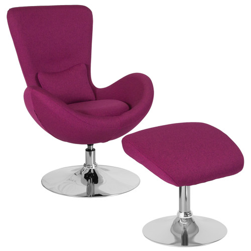 Flash Furniture | Egg Series Magenta Fabric Side Reception Chair with Ottoman