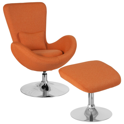 Flash Furniture | Egg Series Orange Fabric Side Reception Chair with Ottoman