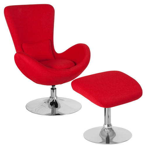 Flash Furniture | Egg Series Red Fabric Side Reception Chair with Ottoman