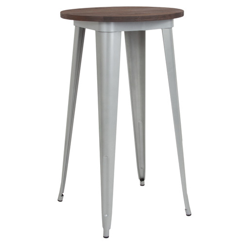 """Flash Furniture   24"""" Round Silver Metal Indoor Bar Height Table with Walnut Rustic Wood Top"""