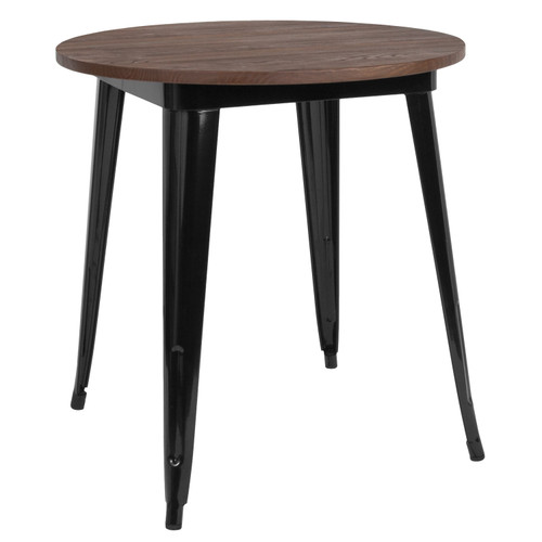 "Flash Furniture | 26"" Round Black Metal Indoor Table with Walnut Rustic Wood Top"