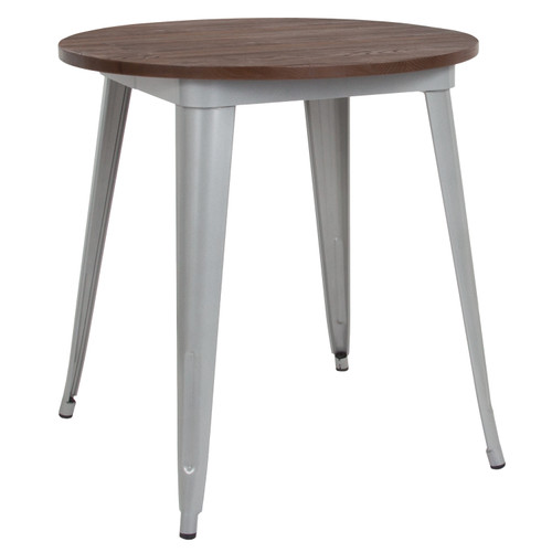 "Flash Furniture | 26"" Round Silver Metal Indoor Table with Walnut Rustic Wood Top"