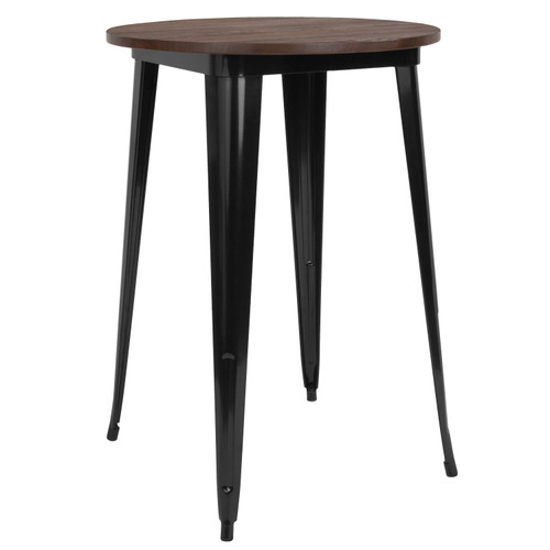 "Flash Furniture | 30"" Round Black Metal Indoor Bar Height Table with Walnut Rustic Wood Top"