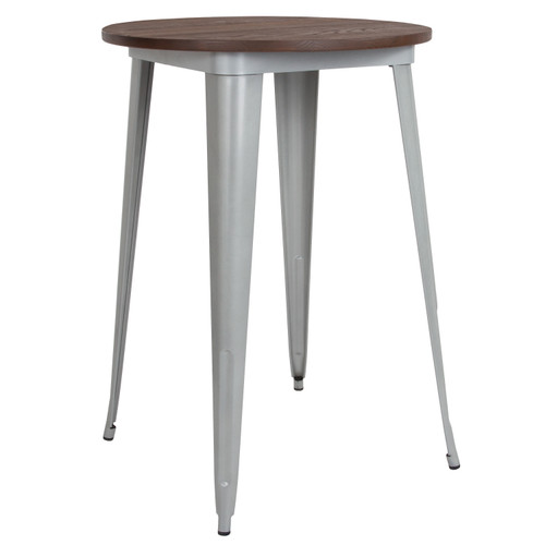 "Flash Furniture | 30"" Round Silver Metal Indoor Bar Height Table with Walnut Rustic Wood Top"
