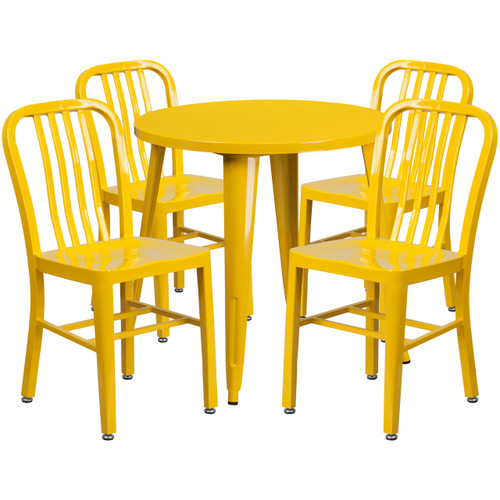 Flash Furniture | 30'' Round Yellow Metal Indoor-Outdoor Table Set with 4 Vertical Slat Back Chairs