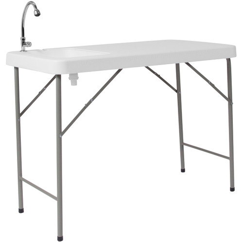Flash Furniture | 23''W x 45''L Granite White Plastic Folding Table with Sink