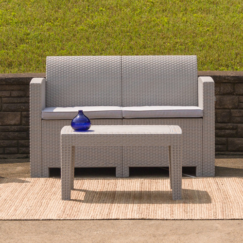 Flash Furniture | Light Gray Faux Rattan Loveseat with All-Weather Light Gray Cushions
