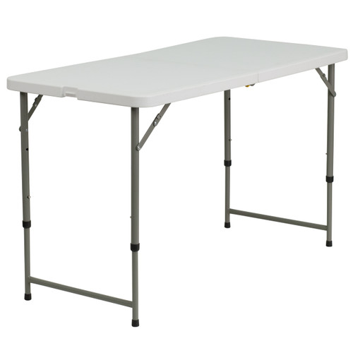 Flash Furniture | 24''W x 48''L Height Adjustable Bi-Fold Granite White Plastic Folding Table
