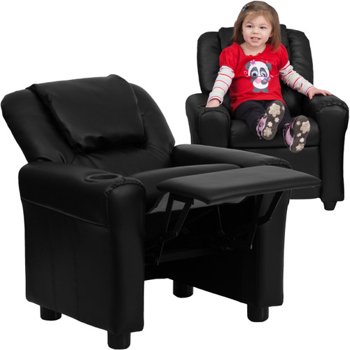Flash Furniture | Contemporary Black Leather Kids Recliner with Cup Holder and Headrest