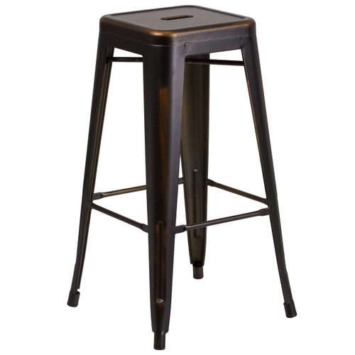 Flash Furniture | 30'' High Backless Distressed Copper Metal Indoor-Outdoor Barstool