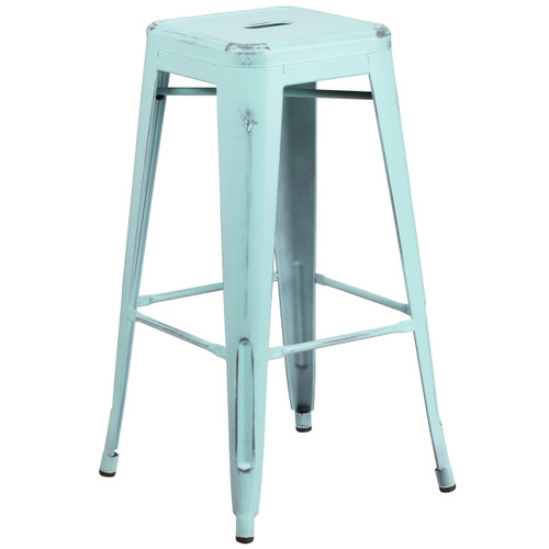 Flash Furniture | 30'' High Backless Distressed Green-Blue Metal Indoor-Outdoor Barstool