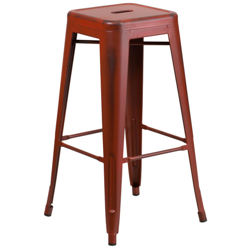 Flash Furniture | 30'' High Backless Distressed Kelly Red Metal Indoor-Outdoor Barstool