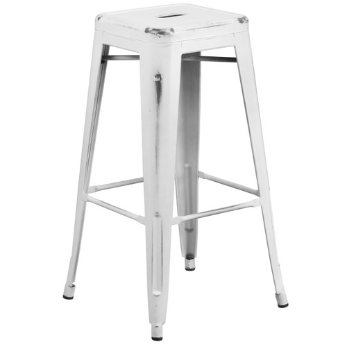 Flash Furniture | 30'' High Backless Distressed White Metal Indoor-Outdoor Barstool