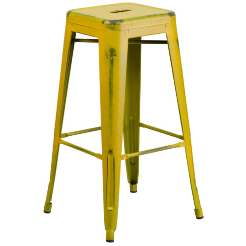 Flash Furniture | 30'' High Backless Distressed Yellow Metal Indoor-Outdoor Barstool