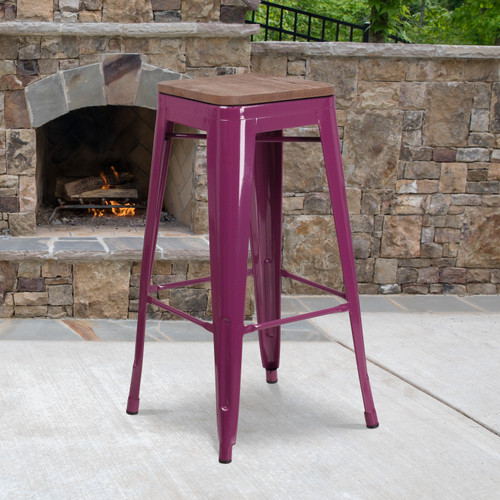 "Flash Furniture | 30"" High Backless Purple Barstool with Square Wood Seat"