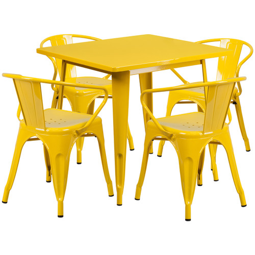Flash Furniture | 31.5'' Square Yellow Metal Indoor-Outdoor Table Set with 4 Arm Chairs