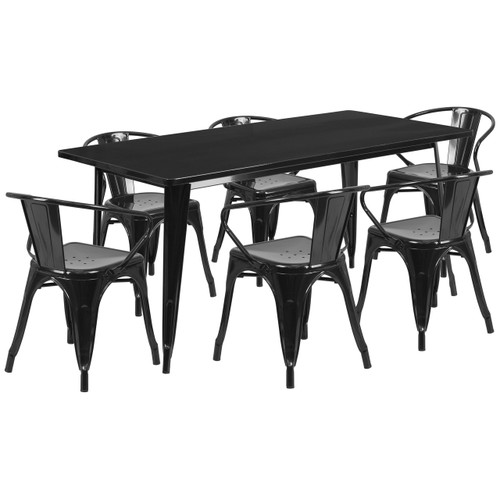Flash Furniture | 31.5'' x 63'' Rectangular Black Metal Indoor-Outdoor Table Set with 6 Arm Chairs
