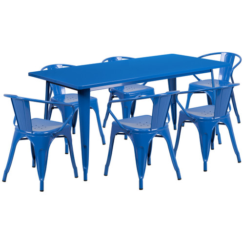 Flash Furniture | 31.5'' x 63'' Rectangular Blue Metal Indoor-Outdoor Table Set with 6 Arm Chairs