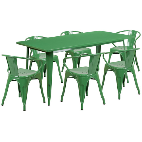 Flash Furniture | 31.5'' x 63'' Rectangular Green Metal Indoor-Outdoor Table Set with 6 Arm Chairs