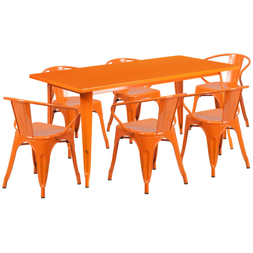 Flash Furniture | 31.5'' x 63'' Rectangular Orange Metal Indoor-Outdoor Table Set with 6 Arm Chairs