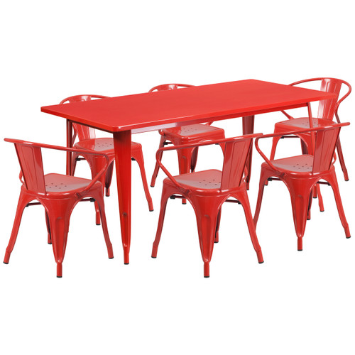 Flash Furniture | 31.5'' x 63'' Rectangular Red Metal Indoor-Outdoor Table Set with 6 Arm Chairs