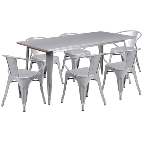 Flash Furniture | 31.5'' x 63'' Rectangular Silver Metal Indoor-Outdoor Table Set with 6 Arm Chairs