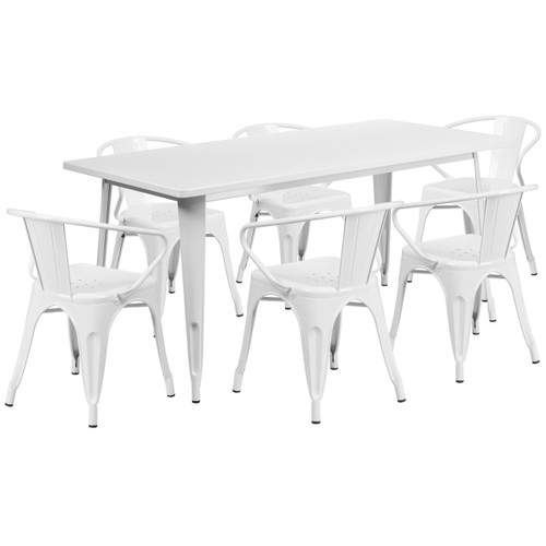 Flash Furniture | 31.5'' x 63'' Rectangular White Metal Indoor-Outdoor Table Set with 6 Arm Chairs