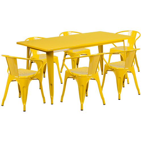 Flash Furniture | 31.5'' x 63'' Rectangular Yellow Metal Indoor-Outdoor Table Set with 6 Arm Chairs
