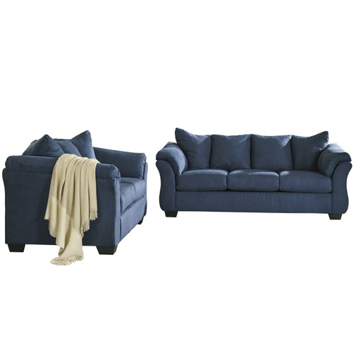 Flash Furniture | Signature Design by Ashley Darcy Living Room Set in Blue Microfiber