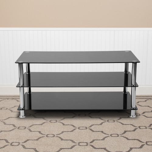 Flash Furniture | Riverside Collection Black Glass TV Stand with Stainless Steel Frame