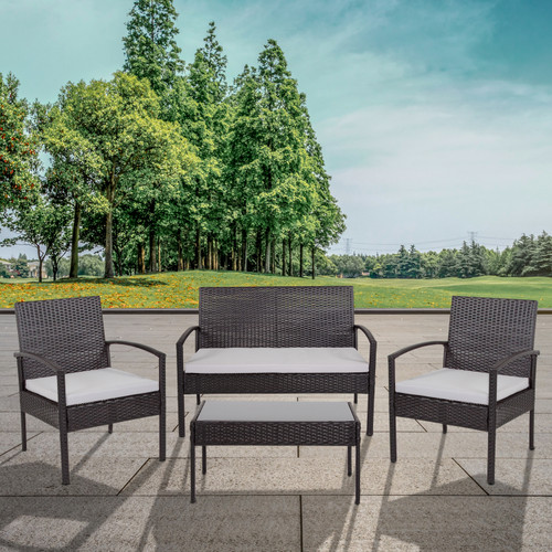 Flash Furniture | Aransas Series 4 Piece Black Patio Set with Steel Frame and Gray Cushions