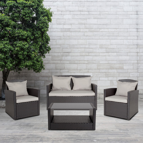 Flash Furniture | Aransas Series 4 Piece Black Patio Set with Gray Back Pillows and Seat Cushions