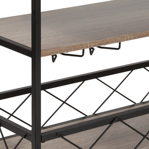 Flash Furniture | Buckhead Distressed Light Oak Wood and Iron Kitchen Serving and Bar Cart with Wine Glass Holders