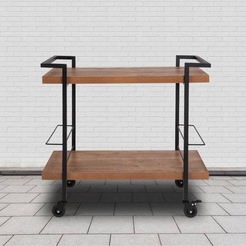 Flash Furniture | Castleberry Rustic Wood Grain and Iron Kitchen Serving and Bar Cart