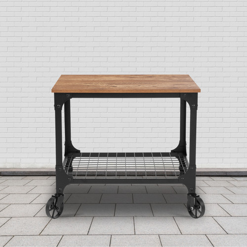 Flash Furniture | Grant Park Rustic Wood Grain and Industrial Iron Kitchen Serving and Bar Cart