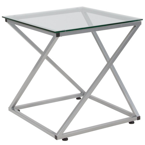 Flash Furniture | Park Avenue Collection Glass End Table with Contemporary Steel Design