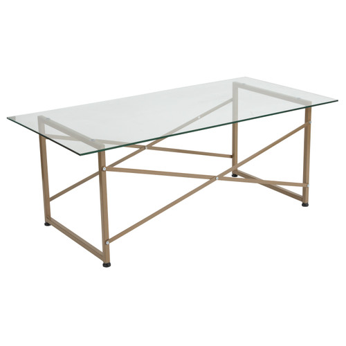 Flash Furniture | Mar Vista Collection Glass Coffee Table with Matte Gold Frame