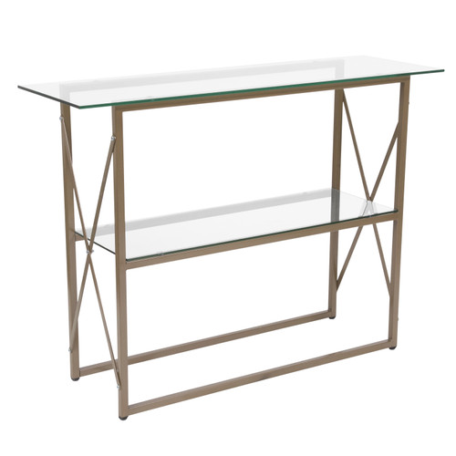 Flash Furniture | Mar Vista Collection Glass Console Table with Matte Gold Frame