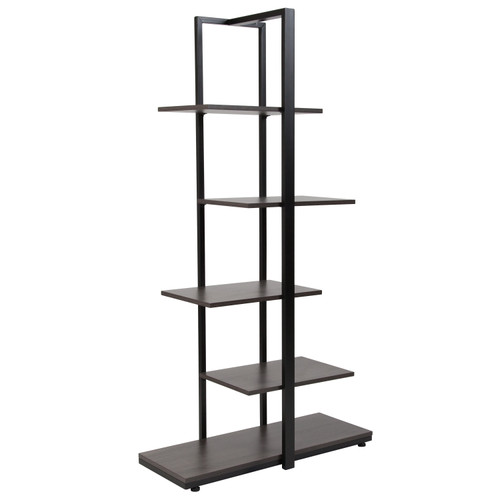 Flash Furniture | Homewood Collection 5 Tier Decorative Etagere Storage Display Unit Bookcase with Black Metal Frame in Driftwood Finish